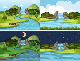 Set Wasserfall Nacht und Tag Szenen