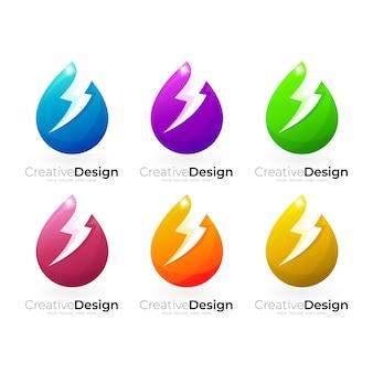 Set wassertropfen-logo und donner-design-kombination