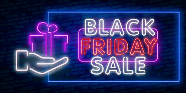 Set web-banner black friday. neonschild. web-banner, logo, emblem und label. leuchtreklame, helles schild, helle fahne.