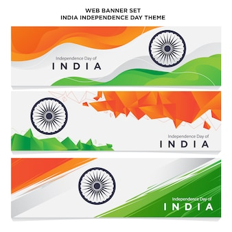 Set web banner indien independence day theme
