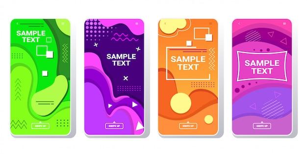 Set web-vorlagen dynamische bunte farbverlauf abstrakte banner fließen flüssige form flüssige farbe smartphone-bildschirme sammlung online-mobile-app memphis-stil horizontal