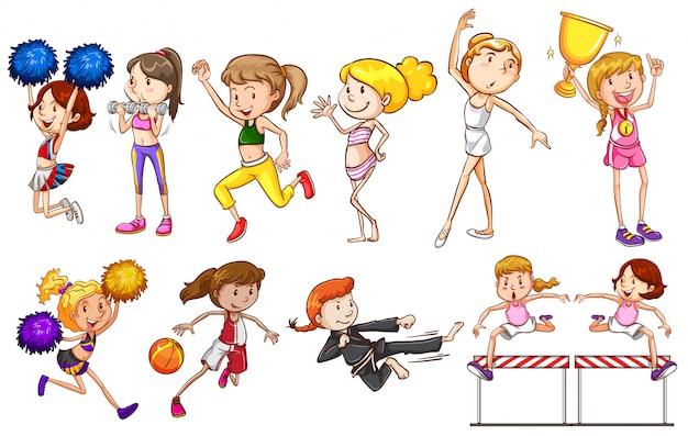 Set weiblicher sportcharakter