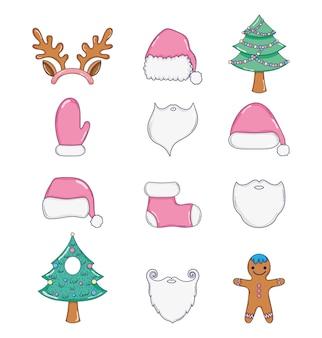 Set weihnachten veranstaltung mit kiefer und santa claus kostüm