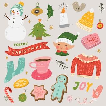 Set weihnachts- und einklebebuchelemente des neuen jahres