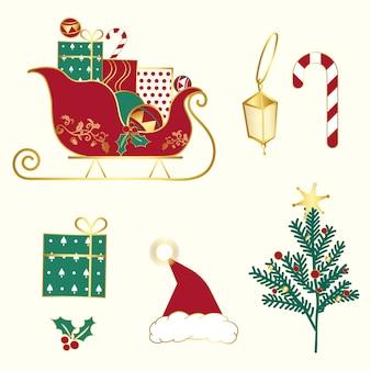 Set weihnachtsabbildungvektor