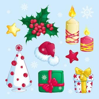 Set weihnachtsaufkleber.