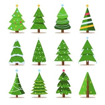 Set weihnachtsbäume neujahr und weihnachten traditioneller symbolbaum mit girlanden-glühbirne