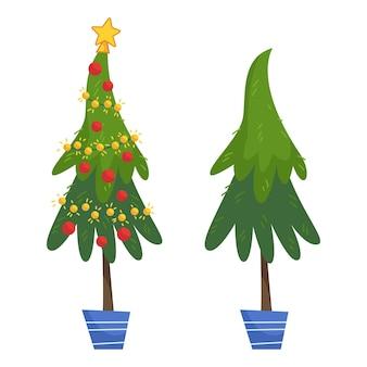 Set weihnachtsbäume weihnachtsbaum mit girlande und roten glaskugeln und ohne dekoration