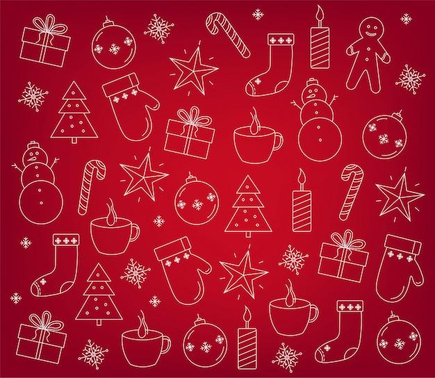Set weihnachtsdekorationen umreißt
