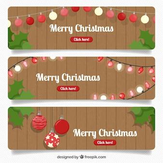 Set weihnachtsfahnen mit holzuntergrund