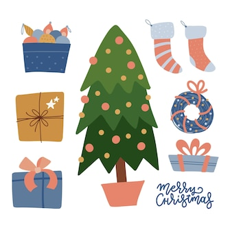 Set weihnachtsfeier elemente baum geschenke spielzeug strümpfe kranz dekorationen winterkollektion...