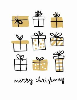 Set weihnachtsgeschenke, neujahrskarte.