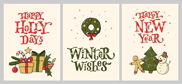 Set weihnachtsgrußkarten und -einladungen
