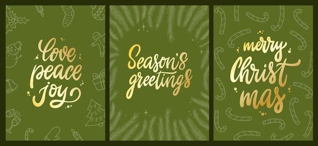 Set weihnachtskarten auf grünem hintergrund