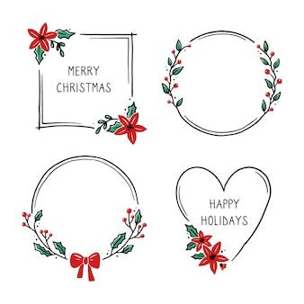 Set weihnachtskranz blumenrahmen