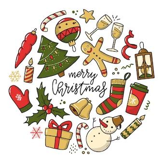 Set weihnachtskritzeleien isoliert auf weiss