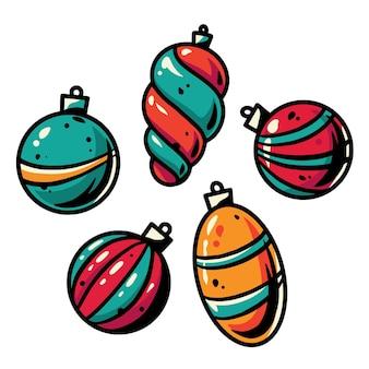 Set weihnachtskugeln für die neujahrsfeiertage
