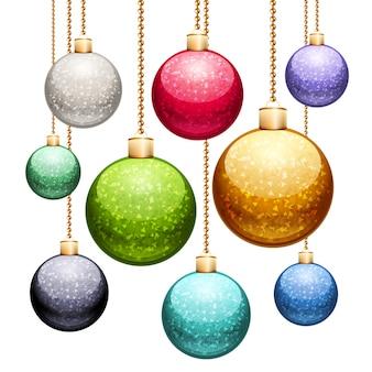 Set weihnachtskugeln mit funkeln