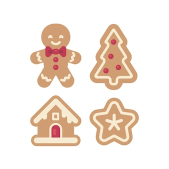 Set weihnachtslebkuchenikonen. flache illustration des mannes, des hauses, des baums und des sternes. fun urlaub essen