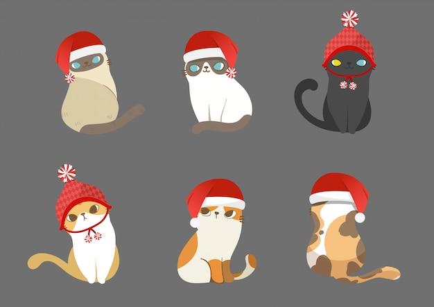 Set weihnachtsmann-katzen in verschiedenen haltungen.