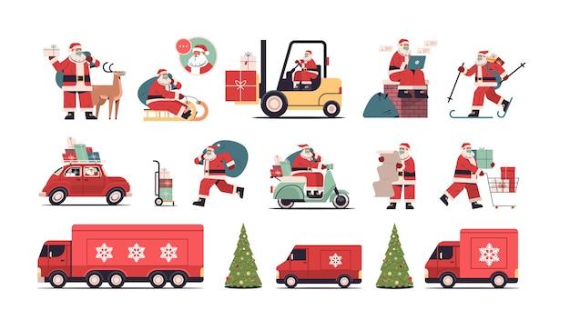 Set weihnachtsmann liefert geschenke frohe weihnachten frohes neues jahr feiertagsfeier konzept horizontale vektor-illustration in voller länge