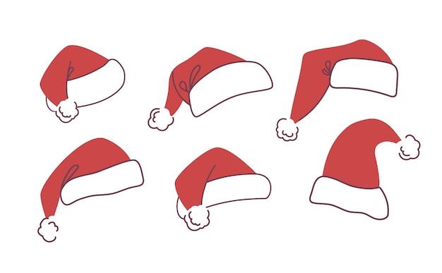 Set weihnachtsmützen für den weihnachtsmann