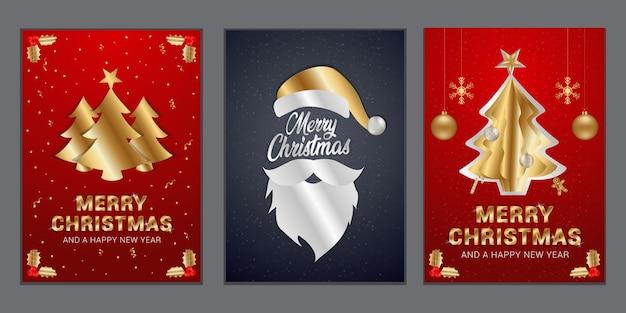 Set weihnachtsposter mit dekorativen urlaubsgegenständen