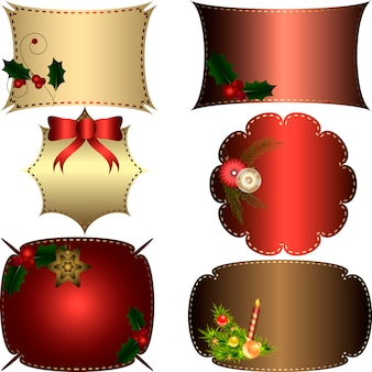 Set weihnachtsrahmen mit dekorativen elementen