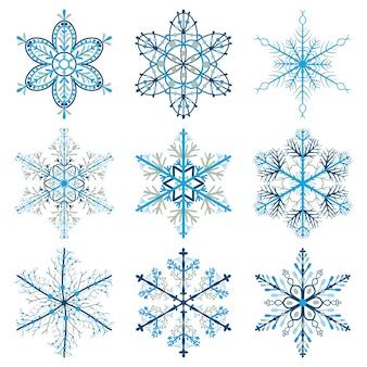 Set weihnachtsschneeflocken, farbig auf weißem hintergrund