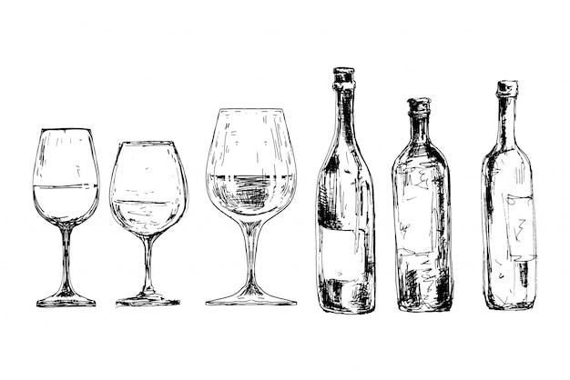 Set weinflaschen und gläser