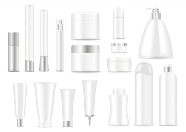 Set weiße kosmetische gefäße mit silbernen schutzkappen
