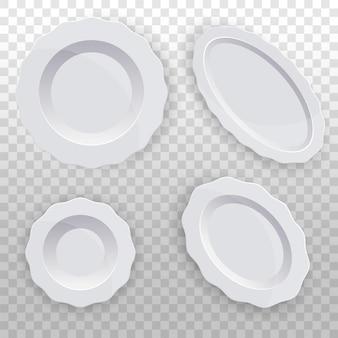 Set weißer teller mit wellenrand sauberes geschirr für die küche porzellan