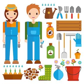 Set werkzeuge für den gartenbau