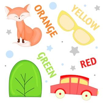 Set wilde tiere und insekten für kinder orange, gelb, grün, rot
