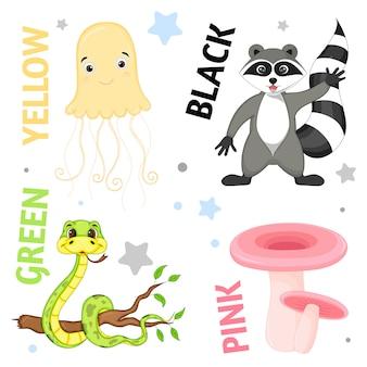 Set wilde tiere und insekten für kinder