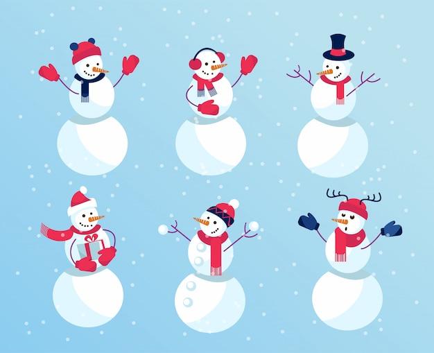 Set winterferien lustige schneemänner. emotionale charaktere in fäustlingen und lustigen hüten.