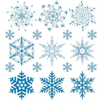 Set winterschneeflocken