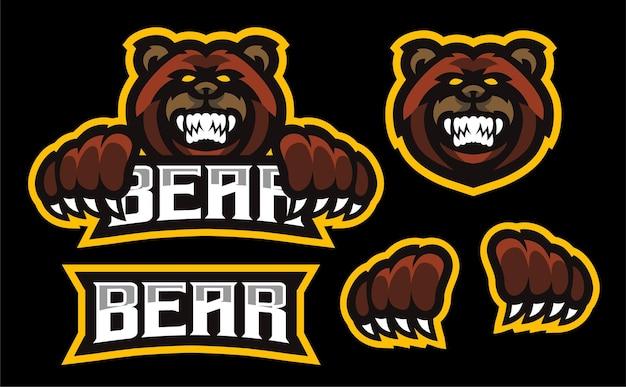 Set wütendes bären-esport-maskottchen-gaming-logo