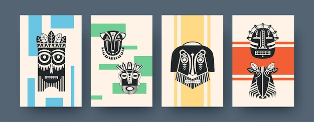 Set zeitgenössischer kunstplakate mit afrikanischen stammesmasken. vektor-illustration. sammlung afrikanischer stammesmasken in verschiedenen kompositionen