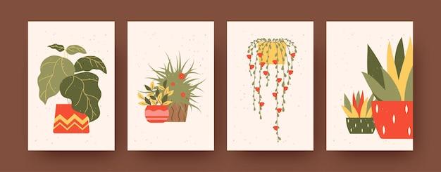 Set zeitgenössischer kunstplakate mit blumenthema. vektor-illustration. bunte sammlung grüner und gelber pflanzen in töpfen