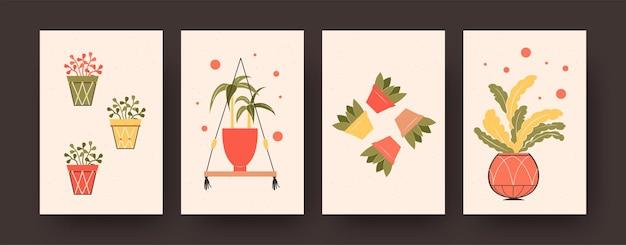 Set zeitgenössischer kunstplakate mit eingetopfter aloe vera. blumen in töpfen vektorgrafiken in pastellfarben