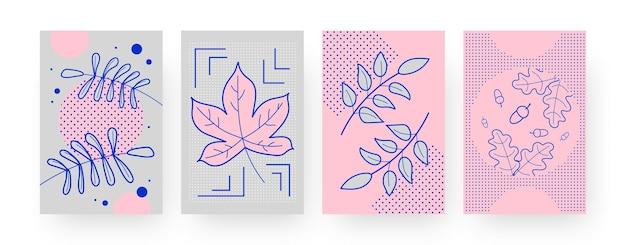 Set zeitgenössischer kunstplakate mit herbstlaub und eicheln. fallendes laub illustration