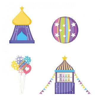 Set zirkuszelt mit ball- und spielzeugladen