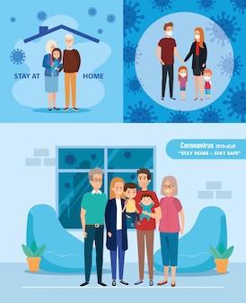 Set zu hause bleiben kampagne mit familien