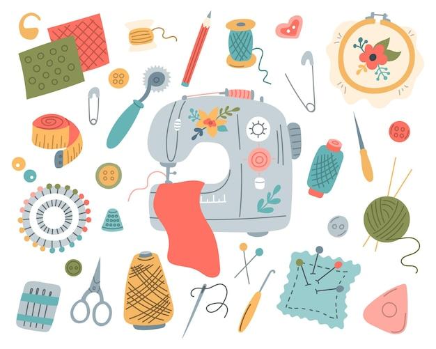 Set zum nähen und sticken nähmaschinen handwerkzeuge faden und nadeln