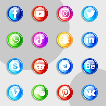 Set zur sammlung von social-media-symbolen