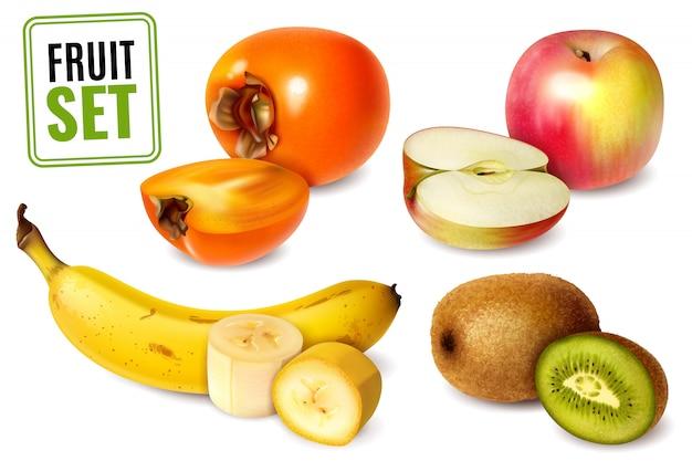 Set2 von vier früchten im realistischen stil