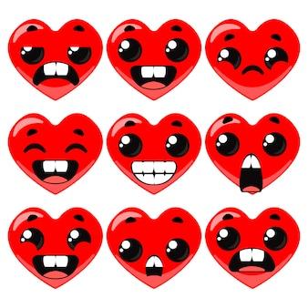 Seth herzen mit verschiedenen emotionen valentinstag vektor-illustration im cartoon-stil spaß