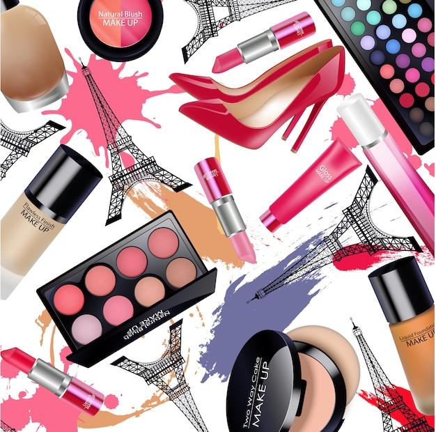Sets von kosmetik mit eiffelturm silhouette