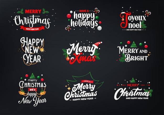 Sets von weihnachtstypografie